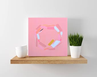 Pink Abstract Painting - Modern Home Decor - Modern Minimal Art - Geometric Art- Abstract Art