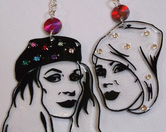 Absolutely Fabulous . Patsy Stone and Eddie Monsoon illustrated shrink plastic statement earrings with crystal detail