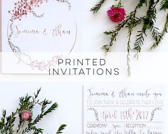 Wedding Invitation, Printed Wedding Invitation, Wedding Invitations, Wedding Invites, Wedding Invite, Floral Wedding Invitation, Wedding