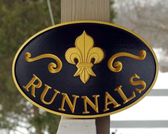 Custom Carved Welcome Sign - Last name sign with Fleur-de-Lis