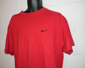 Vintage 90s Red Black Nike Swoosh T-Shirt Size Large