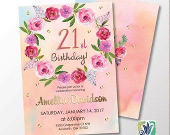 Peach and Gold Birthday Invitation. 21st Birthday Party invitation. Peony Floral invitation. Printable Digital DIY Card