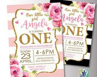 Pink and Gold Baby Birthday. 1st Birthday Party invitation. Glitter Birthday Invite. Printable Digital DIY Card