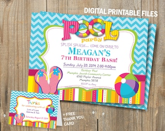 Pool Party Birthday Invitation, Flip Flops Pool Birthday Invitation, Double Sided, DIY, for Girl & fo Boy, Digital Printable card