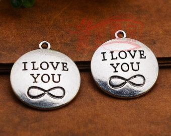 10pcs 24mm antique silve I LOVE YOU charms pendant