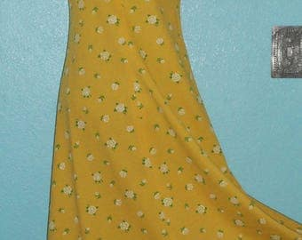 70s Vintage Home Sewn Yellow Floral Polyester Halter Dress — Size Extra Small/Small