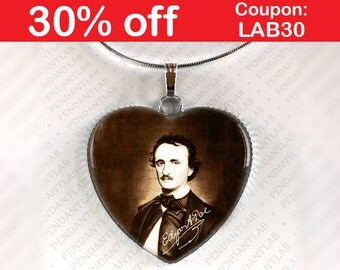 Edgar Allan Poe Pendant, Edgar Allan Poe Jewelry, Edgar Allan Poe Necklace, Edgar Poe, Book, Writer, Book Necklace, Heart, Gift