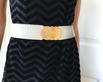 1990s Accessocraft Belt White Scales Gold tone Buckle