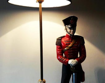 Large Kitsch Lamp with Napoleonic Soldier