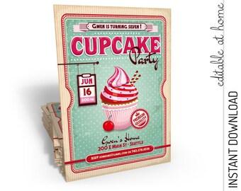 Cupcake Invitation, Cupcake Birthday Invitation, Cupcake Party Invitation, Cupcake Wars INSTANT DOWNLOAD you personalize at home