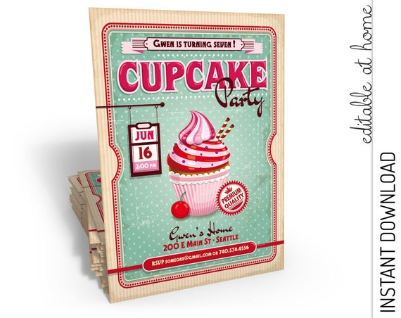 Cupcake Birthday Invitation INSTANT DOWNLOAD