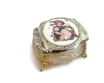 Vintage Footed Jewelry or Trinket Box - Sweet Little Chicks - Japan