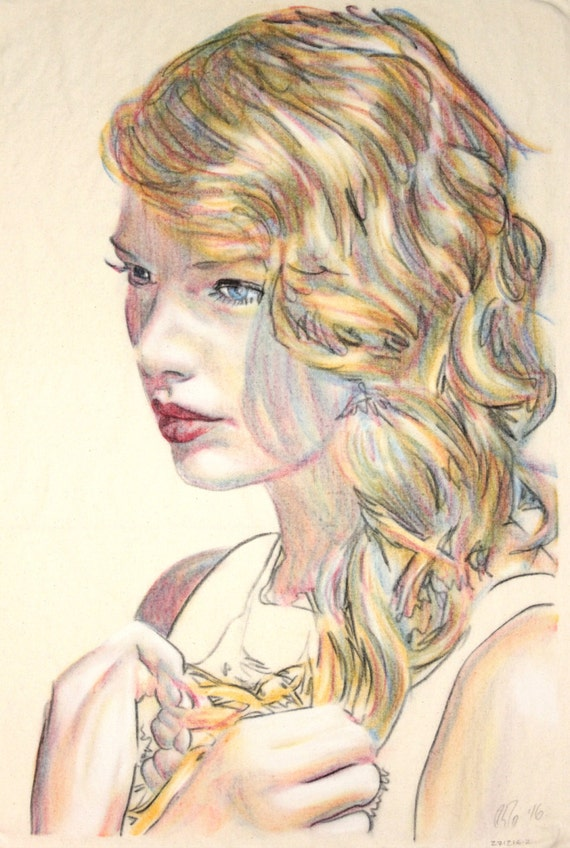 Original hand drawn portrait of Taylor Swift, in charcoal and pastel on calico