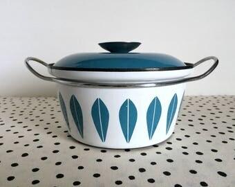 Vintage Cathrineholm Lotus Pot, Blue Lotus Pot, Catherineholm Lotus Pot, Blue and White Lotus Pot, Midcentury Modern Enamelware, Teal Lotus