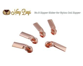 Set of 5 // #5 Zipper Slider / Zipper Pull (High Quality) for Nylon Coil Zippers in Rose Gold Finish (NEW)