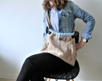 Damast bag tote ,50 ths Italian damast,99%recycled materials,Italian leather,Italian-Dutch eco design. natural gift for her. JJePa