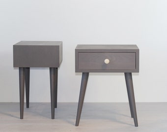 Mid-century nightstand Bedside Table with drawer Mid-century Modern Furniture Scandinavian Style Furniture Bedroom furniture Grey ALD-0002LL