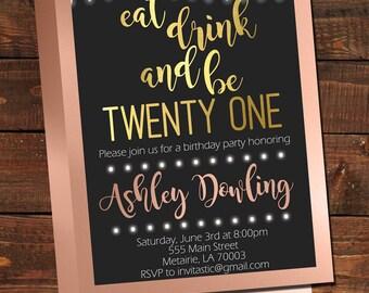 Adult Birthday Invitation Black White Stripes Gold Glitter - 21st birthday invitations gold coast