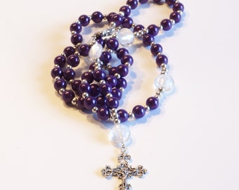 PURPLE & WHITE Handcrafted Catholic Saints Rosary Necklace Beaded Chain