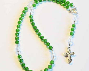 GREEN Handcrafted Catholic Saints Rosary Necklace Beaded Chain