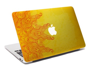 Macbook Decal Golden Sun / Custom Creative Sticker for Computer / Bohemian Design / Apple Logo 272.237.783