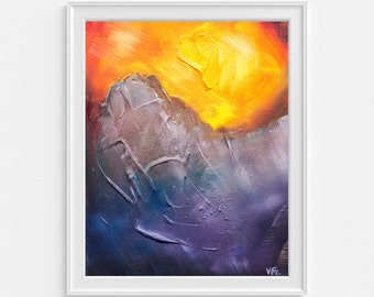 Abstract Landscape Art Print - A4 - Yellow and Purple Art - Expressionist Landscape - Modern Art