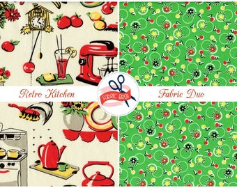 CUTE KITCHEN Fabric Bundle Fabric by the Yard Fat Quarter Retro Kitchen Apron Fabric Quilting Fabric 100% Cotton Fabric Apparel Fabric Kit