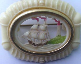 Vintage Seaside Ship Lighthouse Brooch