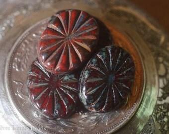 Crimson Starburst (4) - Czech Glass Bead - 18 x 14mm