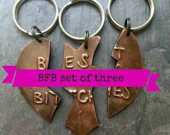 BFB keychains . set of three  .  broken heart best friends gift  .  handmade copper present for besties