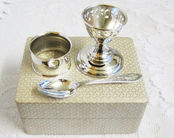 Yeoman Silver Plated Egg Cup, Spoon and Napkin Ring, Mid-Century Christening Gift Set