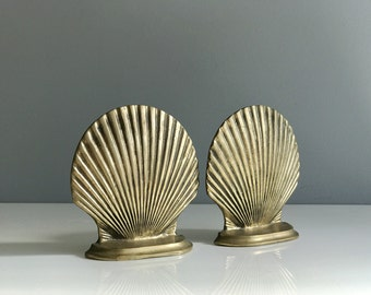 Vintage Brass Scallop Bookends