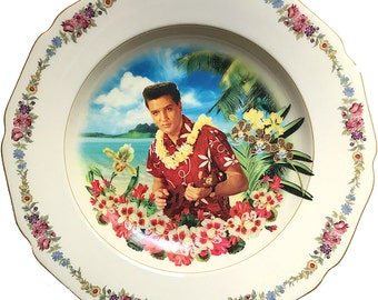 Blue Hawaii - Elvis Presley - The King - Vintage Porcelain Plate (*) - #0000 SALE