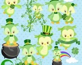 St Patricks Day, Owl Clipart, Owl clip art, St Patrick's Day Owls, Commercial Use, Instant Download, AMB-1185