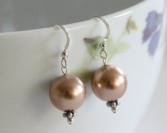 Gold Pearl Earrings, Bronze Pearl Earrings, Swarovski Pearl Earrings, Pearl Drop Earrings, Large Pearl earrings, Large drop earrings