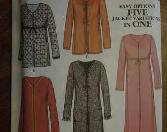New Look 6016, sizes 10-22, lined coat/ jacket, UNCUT sewing pattern, craft supplies, misses, womens