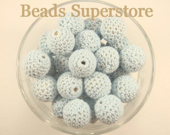 SALE 20 mm Pastel Blue Crochet Natural Wood Round Bead - Crochet Teething Baby Bead - Baby Crochet Bead (CR06)