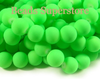 SALE CLOSEOUT 12mm Fluorescent Neon Green Glass Round Bead - 14pcs