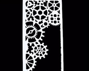 Gears Stencil, Alice in Wonderland, Steam Punk - Custom Stencils and Templates from Bakell - DJ197