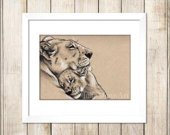Lion and cub Art Print, Lion Drawing, Lion Art, Lion Cub, Ready to Frame, Unframed Art Print, Wildlife Art, Animal Drawing, Nursery Art