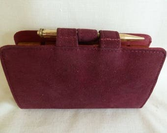 Vintage clutch bag, make-up compact and diary. Burgundy suede bag. Powder compact, lipstick. Scent bottle. any year diary. Vintage purse.
