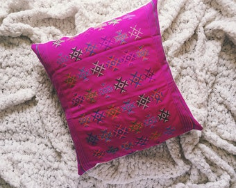 Handwoven Pink Pillow Cover with Multicolored Embroidered Design