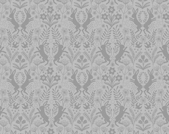 Lewis & Irene Salisbury Spring Patchwork Quilting Fabric A64.6 Little Hares Dark Grey On Grey