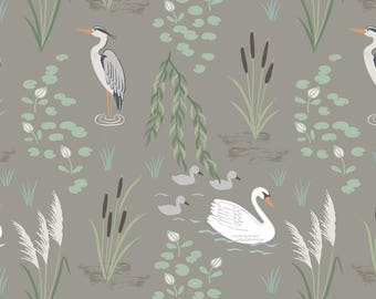 Down by the River A220.3 Swan and Heron on Pebble Lewis & Irene Patchwork Quilting Dressmaking Fabric