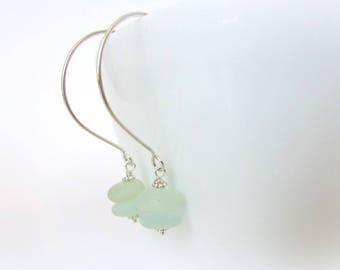 SALE! Sea Glass Earrings. Sterling Silver Earrings. Wire wrapped sea glass. Sea glass jewelry. Beach Glass Earrings. Hoop earrings. Sea glas