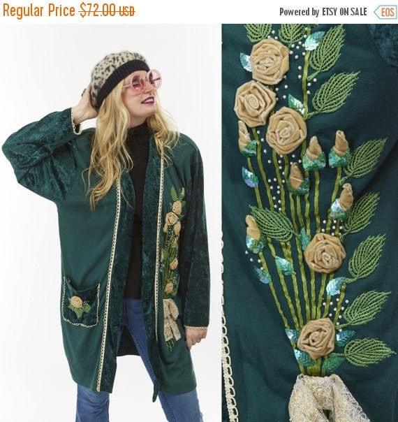 Vtg 80s 90s GRUNGE Crushed Velvet Jacket Cardigan Wrap ROSES Sequins Trophy Sweater Mix Print appliqués ROMANTIC Boho Goth Embroidered Lace