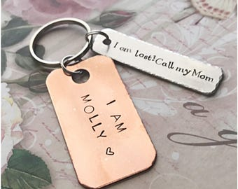 I am Pet Tag - I Am Lost Call My Mom Dog Tag - Customized Dog Identification Tag - Personalized Copper Aluminum Dog Rectangular ID