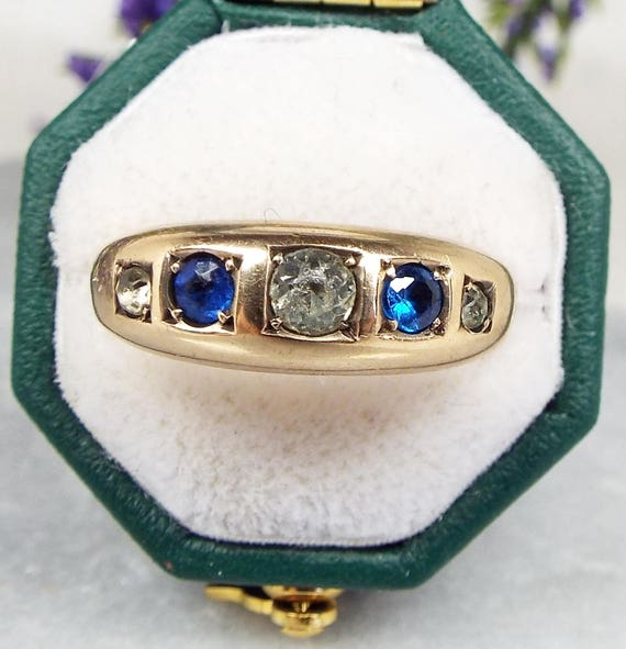 SALE! Antique Victorian 9ct Gold Hallmarked Paste Sapphire and Diamond Band Ring / Size K