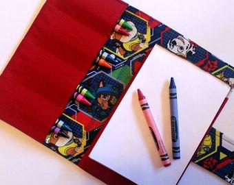Small Crayon Case - Paw Patrol Print- crayon wallet - travel activity case - art wallet