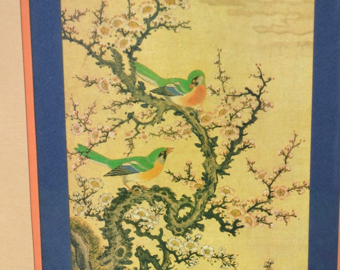 Vintage Asian Print Birds on a Branch Butterflies Flowers Framed with Glass Oriental Chinoiserie Decor No 1 PanchosPorch